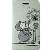éléphant de bande dessinée et le motif de pissenlit PU cas flip en cuir avec rabat magnétique et lecteur de carte pour iPhone 5 / 5s