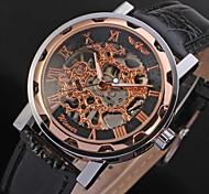 WINNER Da uomo Orologio da polso orologio meccanico Carica automatica Orologi con incisioni PU Banda Di lusso NeroBianco Nero Rosso