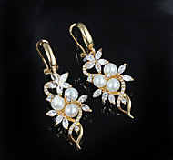 cheap -Women's Floral Flower Pearl Silver Plated Drop Earrings - Floral Golden Earrings For Wedding Party Daily