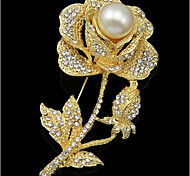 Lucky Doll  Rose Gold Plated Diamonade Zirconia Imitation Pearl Rose Brooch