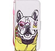 новый очки собака лепестки шаблон PU кожаный материал флип карты сотового телефона чехол для iPhone 6 / 6с