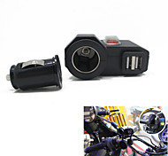 cheap -12v-24v Waterproof Motorcycle Car Dual USB Charger Cigerrete Lighter with Switch + Dual USB Socket
