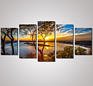 5 Panels Sunset River Landscape Picture Print Modern Wall Art on Canvas Unframed