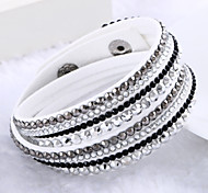 cheap -Women's Leather / Rhinestone / Imitation Diamond Luxury / Multi Layer Wrap Bracelet - Luxury / Unique Design / Fashion Beige / Purple /
