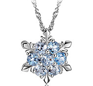 cheap -Women's Snowflake Sterling Silver Crystal Silver Pendant Necklace  -  Fashion Green Blue Pink Necklace For Party Daily Casual