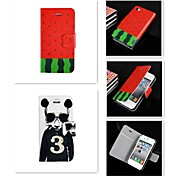 3-Karikatur-Logo-Muster PU-Leder Ganzkörper-Case für iPhone 4 / 4S