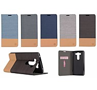 For LG Case Card Holder / with Stand / Flip Case Full Body Case Solid Color Hard PU Leather LG