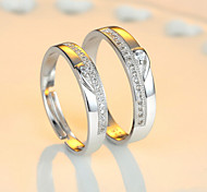 cheap -Couple's Sterling Silver Couple Rings - Adjustable Ring For Wedding / Party / Daily