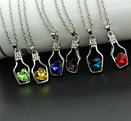 cheap -Women's Heart Crystal Crystal Pendant Necklace  -  Love Fashion Green Pink Light Blue Necklace For Wedding Party Daily