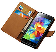 cheap -Case For Samsung Galaxy Samsung Galaxy Case Card Holder Wallet with Stand Flip Full Body Cases Solid Color PU Leather for S5 Mini