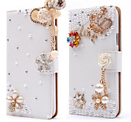 cheap -Case For iPhone 5 Apple iPhone 5 Case Card Holder Rhinestone with Stand Flip Full Body Cases Flower Hard PU Leather for iPhone SE/5s
