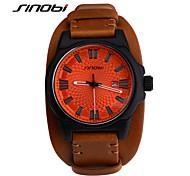 SINOBI Homens Relógio de Pulso Relógio Esportivo Quartzo Calendário Impermeável Relógio Esportivo Couro Banda Marrom