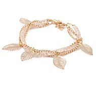 Korea Gold Alloy Hollow Leaves Mesh Bracelet