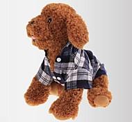 Недорогие -Кошка Собака Футболка Одежда для собак В клетку Красный Зеленый Синий Хлопок Костюм Для домашних животных Муж. Жен. Классика На каждый
