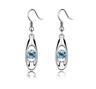 cheap -Luxury Austria Crystal Drop Earrings for Women Sample Earrings Fashion Jewelry Accessories Silver Plated