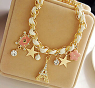 cheap -Charm Bracelet - Leather Tower, Star, Crown Party Bracelet White For