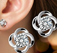 cheap -Women's Flower Sterling Silver Silver Stud Earrings - Bridal Birthstones Simple Style Earrings For Wedding Party Daily