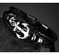 Head Layer Cowhide Titanium Steel Buckle Men Anchor Bracelet Christmas Gifts