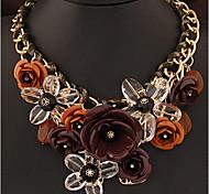 Жен. Ожерелья с подвесками Заявление ожерелья В форме цветка Бижутерия Синтетические драгоценные камни Сплав Pоскошные ювелирные изделия