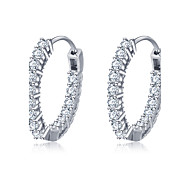 cheap -Women's Hoop Earrings Sterling Silver Zircon Silver Round Circle Geometric Jewelry Wedding Party Daily Casual Costume Jewelry