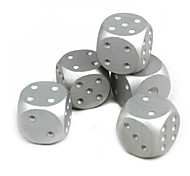 cheap -Exquisite Aluminum Alloy Dice Silver 5 PCS