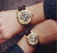 cheap -Men's / Women's / Couple's Skeleton Watch Hollow Engraving PU Band Charm / Fashion Black / White / One Year / SODA AG4