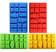cheap -Square Bricks Toy Robot Silicone Ice Mold Fondant Chocolate Cube Mould Cake Bakeware Random Color