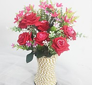 Silk / Plastic Orchids / Roses Artificial Flowers  with Vase