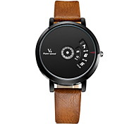 V6® Men's Fashion Binary Display Leather Band Quartz Watch Cool Watch Unique Watch