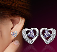 2016 Korean Unisex 925 Silver Sterling Silver Jewelry Zircon Earrings Heart Stud Earrings 1Pair