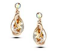 cheap -Austrian Crystal 14K Gold Plated Charm Dangle Drop Earrings For Women Dress Fashion Jewelry 2016 New Love