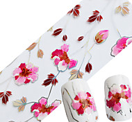 1pcs NEW Styles Glitter Foils 100cmx4cm Nail Art Glue Polish Transfer Stickers Beauty Pink Flower Decals Nail Art Tools
