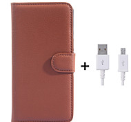 PU Leather Flip Wallet Case with USB Cable for Samsung Galaxy Grand Prime/Core Prime