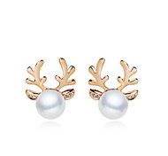 Women's European Style Fashion Elegant Shiny Pearl Antlers Earrings