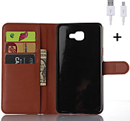 PU Leather Flip Wallet Case with USB Cable for Samsung Galaxy A3/A5/A7/A8/A9
