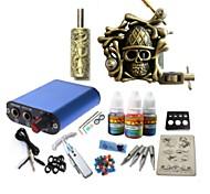 Недорогие -Стартовый комплект татуировки 1 х сплава татуировки для облицовки и затенение Татуировочная машина Mини источник питания 1 × 20ml Чернила