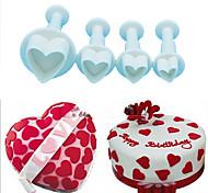 Love Heart Plunger Cutter Mold Sugarcraft Fondant Biscuit Moulds Cake Decorating Tool Random Color,Set of 4
