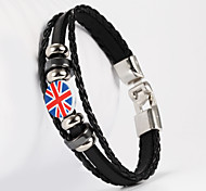 cheap -Three Layer Buckle English National Flag Shape PU Leather Men's Bracelet