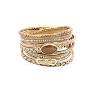 Women's Wrap Bracelet Luxury Multi Layer Handmade Personalized Costume Jewelry Leather Rhinestone Imitation Diamond Alloy Circle Infinity