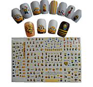 11pcs новый мультфильм прекрасный маленький желтый куклы воды передачи наклейки искусства ногтей stz075-085