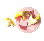 Три отверстия Банан Фрукты Силиконовые Mold Фондант Пресс-формы Сахар Ремесло Инструменты Шоколад Плесень на торты
