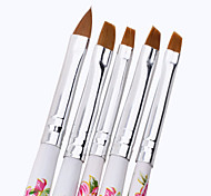 cheap -1Set 5Pcs Acrylic UV GEL Nail Art Design Set Liner Painting Dotting Brush Pen Builder for Acrylic