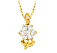 цветы диоксида циркония кулон ожерелье высокого качества 18k позолоченными Австрийское кристаллическое ювелирные изделия способа женщин
