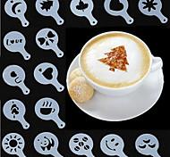 cheap -Coffee Tools Cappuccino Fancy Template Pad Duster Spray Barista Milk Foam Creative Plastic Garland Mold 16 Set
