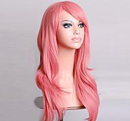 Недорогие -жен. Парики из искусственных волос Без шапочки-основы Средний Естественные волны Розовый Парики для косплей Парик для Хэллоуина