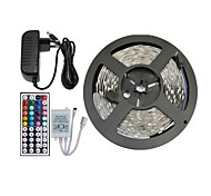 Недорогие -5м 150x5050 SMD RGB светодиодные полосы света и 44key пульт дистанционного управления и 3а нам источник питания (AC110-240V)
