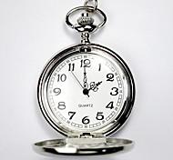 Women's Men's Unisex Pocket Watch Quartz Alloy Band Silver
