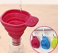 Silicone Gel Foldable Collapsible Style Funnel Hopper Kitchen  cooking tools (Random color)