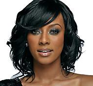 cheap -Synthetic Wig Wavy Bob Haircut With Bangs Black Women's Capless Natural Wigs Medium Synthetic Hair