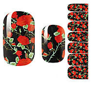 cheap -Fashion Beautiful Black Night Rose Flower Nail Decal Art Sticker Gel Polish Manicure